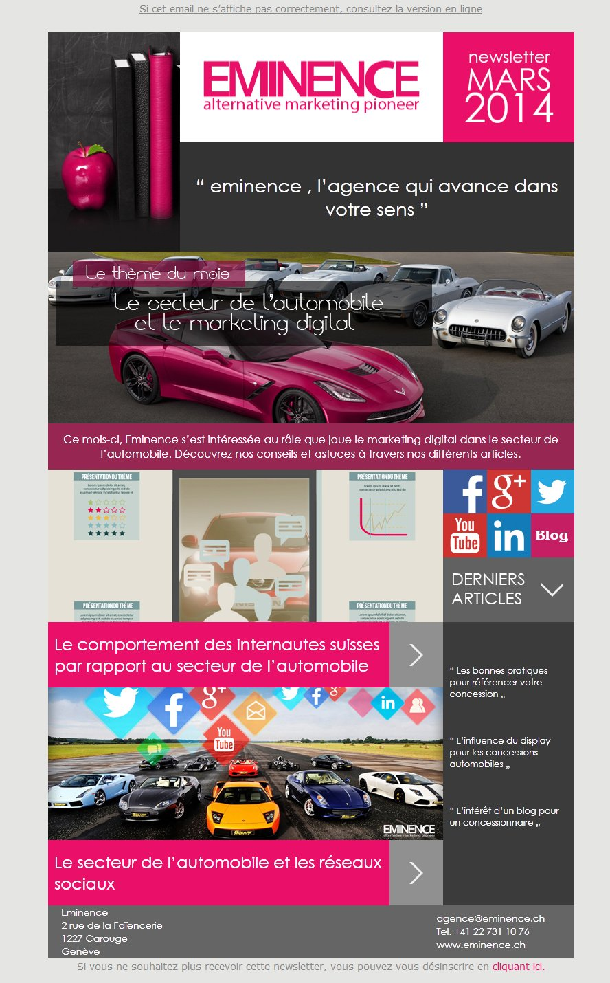 Notre Newsletter du mois de mars : le secteur de l'automobile et le marketing digital