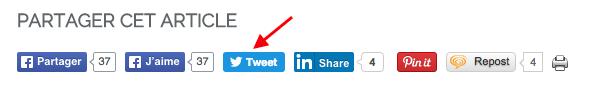 Fin des boutons de partage de Tweets