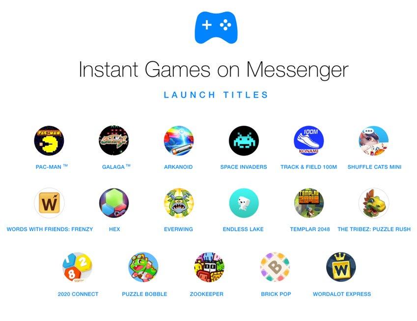 Découvrez de nombreux jeux sur Facebook Messenger