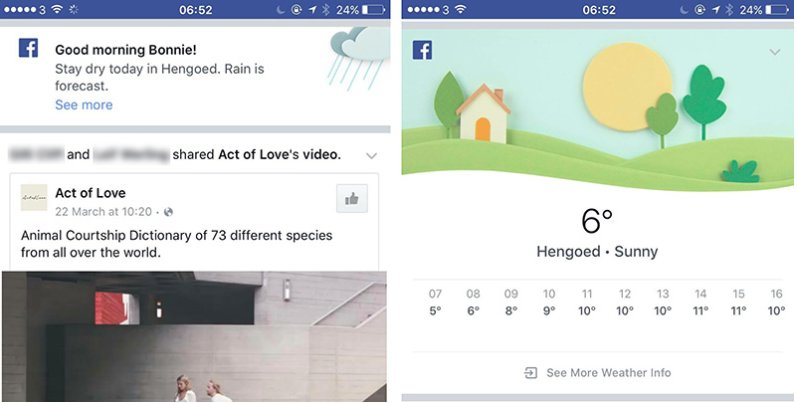 Facebook fait de la prevision meteo